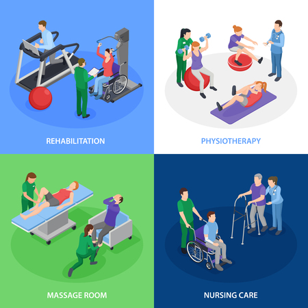 Physiotherapy rehabilitation 4 isometric icons concept with nursing care massage treatment strength balance exercises isolated vector illustration