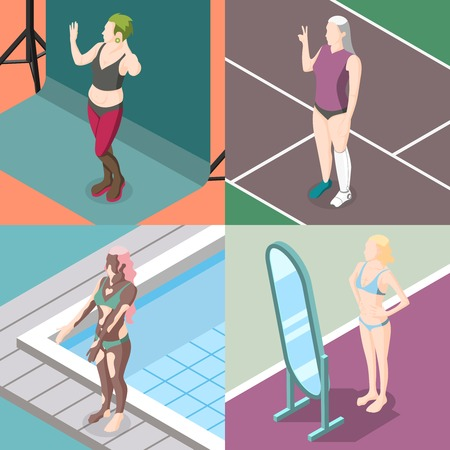 Body positivity movement 2x2 design concept set of women with freaks and health problems isometric vector illustration