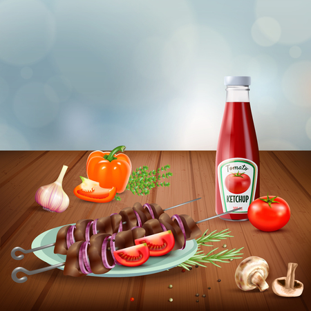 Delicious bbq grilled kebab served with vegetables mushrooms and ketchup realistic vector illustration Illustration