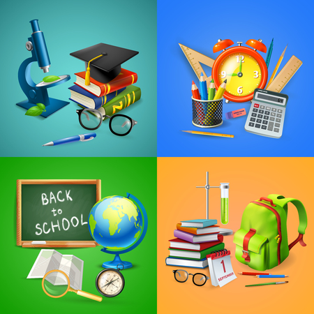 School 2x2 design concept with pupil backpack globe blackboard school supplies microscope and master hat realistic vector illustration Illustration