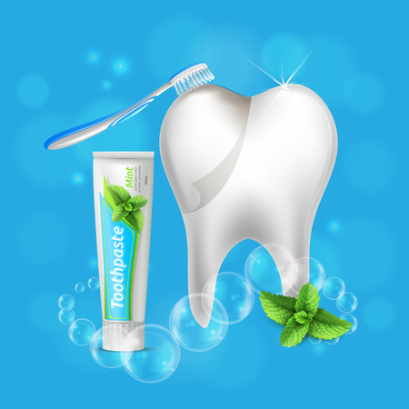 Dental care oral hygiene realistic composition with beautiful shining white tooth toothbrush and menthol toothpaste vector illustration Illustration