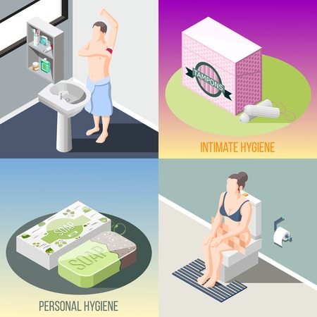 Hygiene isometric 2x2 design concept set of people in bathroom and toilet interiors and items for personal and intimate hygiene vector illustration