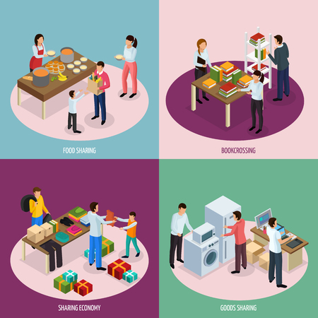 Sharing economy isometric 2x2 design concept with compositions of people sharing food books and household appliances vector illustration