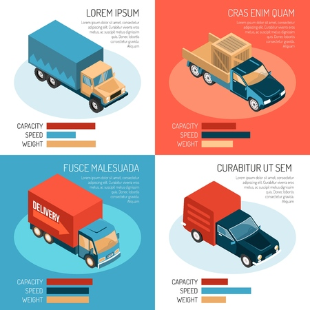Colorful isometric 2x2 design concept with different delivery vehicles their capacity speed and weight 3d isolated vector illustration