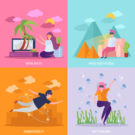 Virtual reality concept 4 orthogonal icons  with vr glasses travel flying and diving experience isolated vector illustration