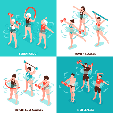 Aqua aerobics men and women classes senior group for persons losing weight isometric concept isolated vector illustration