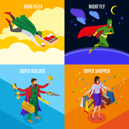 Super heroes builder and shopper people during pizza delivery night flight isometric design concept isolated vector illustration