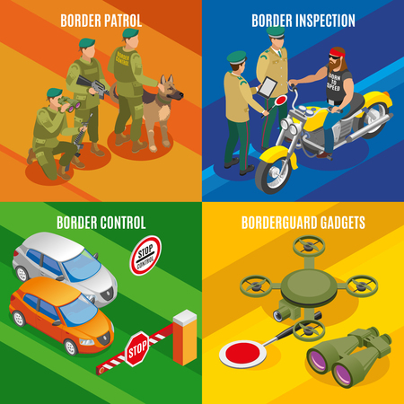 Border service isometric design concept with frontier control and inspection patrol and surveillance equipment isolated vector illustration