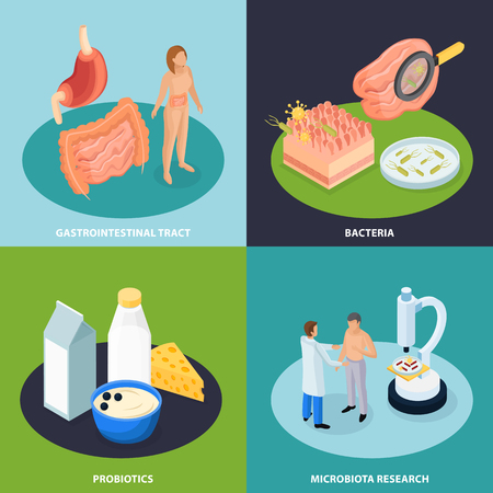 Probiotics isometric 2x2 design concept with conceptual images of organs food and bacteria with human characters vector illustration