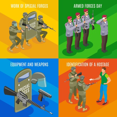 Military special forces isometric concept with professional holiday weapons and equipment hostage identification isolated vector illustration Çizim