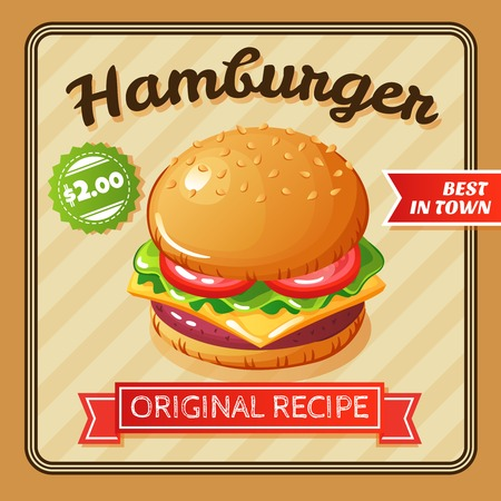 Flat design poster with delicious hamburger with cheese and vegetables vector illustration