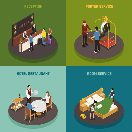 Hotel staff isometric design concept with reception porter restaurant and room service isolated vector illustration Stock Illustratie