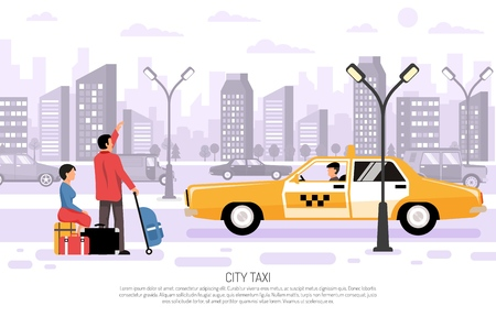 Travelers with luggage hailing yellow taxi car in city street flat composition cityscape background poster vector illustration