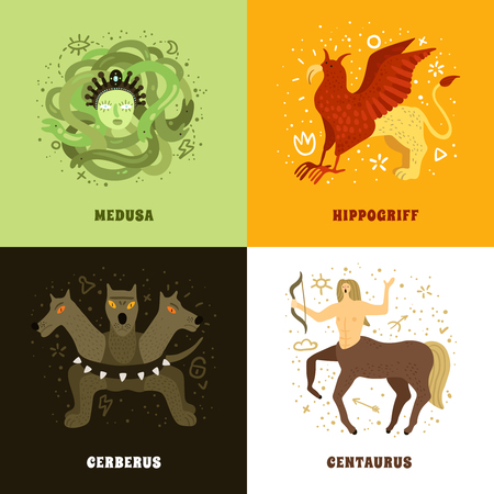 Flat 2x2 design concept with mythical creatures such as medusa hippogriff centaurus and cerberus isolated vector illustration Illustration