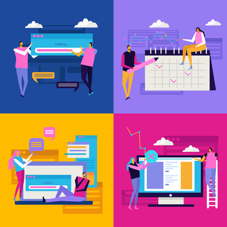 People and interfaces flat 2x2 design concept with compositions of people characters pictogram icons and gadgets vector illustration Illustration