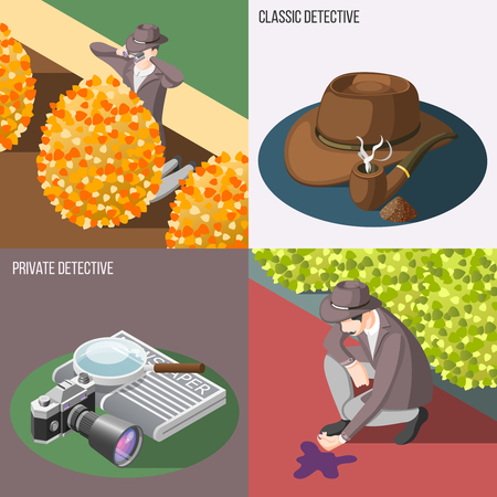 Classic and private detective 2x2 design concept with secret surveillance and murder investigation isometric compositions vector illustration