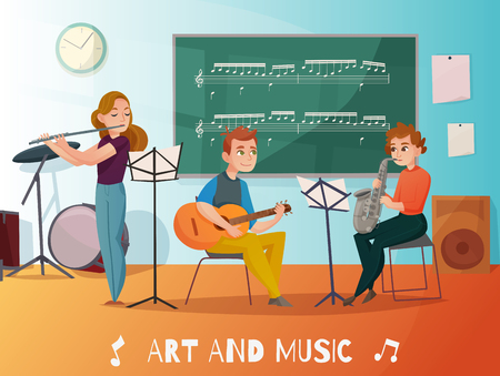 Music lesson in school, students playing saxophone, guitar and flute, chalk board  with notes cartoon vector illustration Illustration