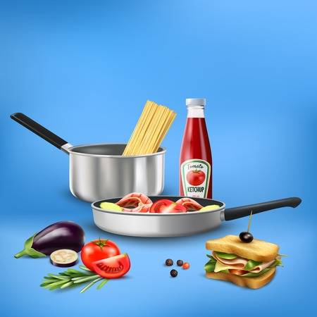 Realistic kitchen tools with food products pasta vegetables fish composition on blue background 3d vector illustration Illustration