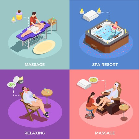 Spa salon isometric design concept massage of body and foot relaxation and water therapy isolated vector illustration