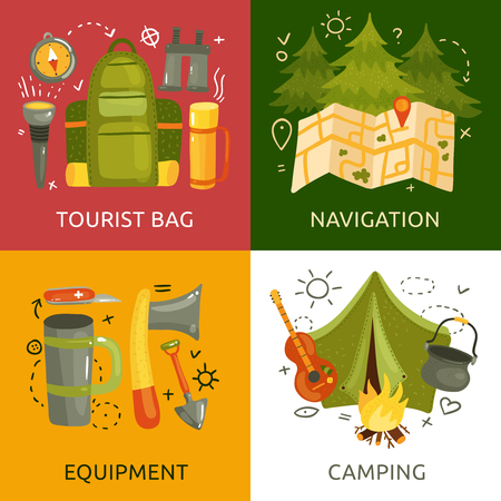 Equipment for camping 2x2 design concept with tent bag map axe knife guitar torch compass flat isolated vector illustration