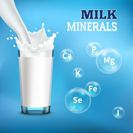 Milk drinking benefits realistic advertisement poster with pouring it into  glass and minerals symbols bubbles vector illustration