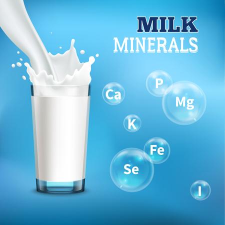 Il manifesto realistico della pubblicità dei benefici del consumo di latte con lo versa nell'illustrazione di vettore delle bolle di simboli dei minerali e di vetro