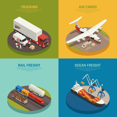 Cargo transportation including ocean and rail freight air delivery trucking isometric design concept isolated vector illustration