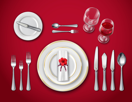 Top view of table place setting for ceremonial dinner on red background with empty plate glasses and cutlery realistic vector illustration