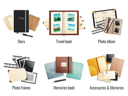 Six isolated compositions of memories books diaries photo albums travel book photo frames cartoon vector illustration
