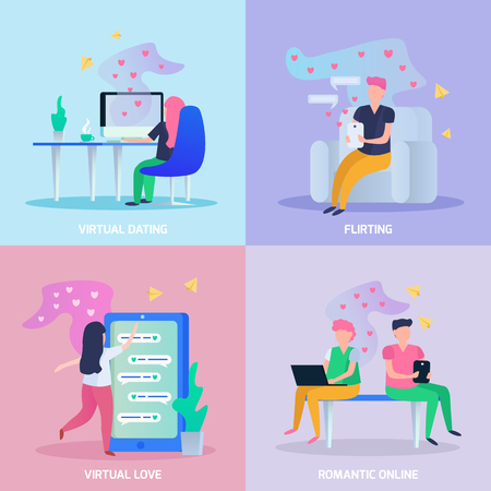 Virtual love 4 orthogonal icons concept with online dating chat romantic and flirting games isolated vector illustration