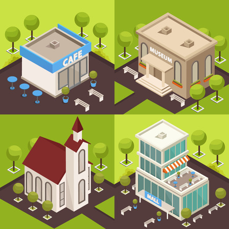 Urban architecture historical and modern public buildings 4 isometric icons concept with museum church cafe vector illustration Illustration
