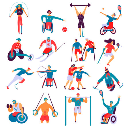 Disabled people during doing sport including gymnastics, archery, skiing, biking, set of flat icons isolated vector illustration