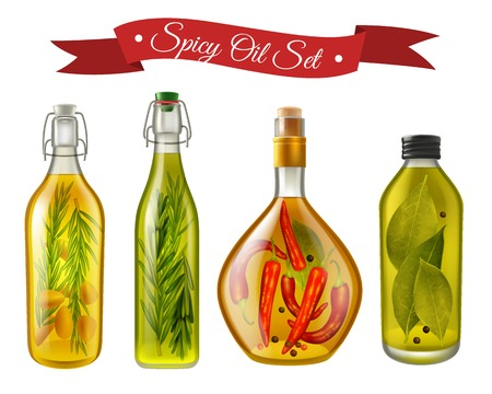 Set of realistic spicy oils with nuts and condiments in bottles of various shape isolated vector illustration