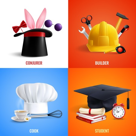 Different professions realistic design concept hats of cook, builder, conjurer, student with work tools isolated vector illustration