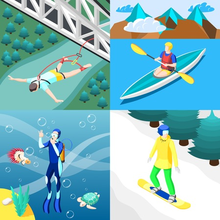 Extreme sports 2x2 design concept with people engaging in bungee jumping diving kayaking snowboarding isometric vector illustration