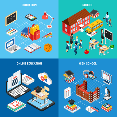 Education isometric 2x2 design concept with school buildings tools for studying in class or e-learning 3d isolated vector illustration Illustration