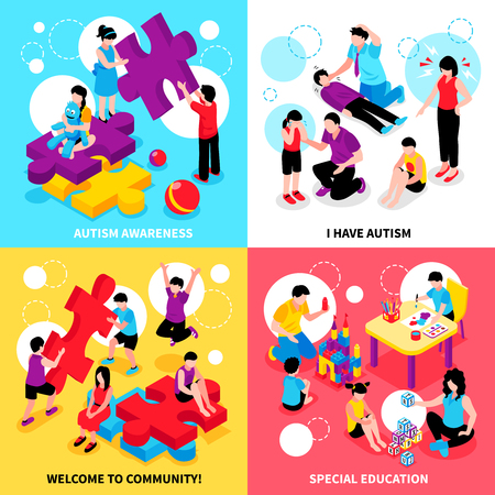Autism awareness isometric design concept with behavior problems and disease special education and community isolated vector illustration