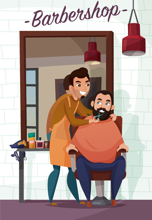 Barber services, hair dresser during cutting of beard near mirror on brick wall background cartoon vector illustration
