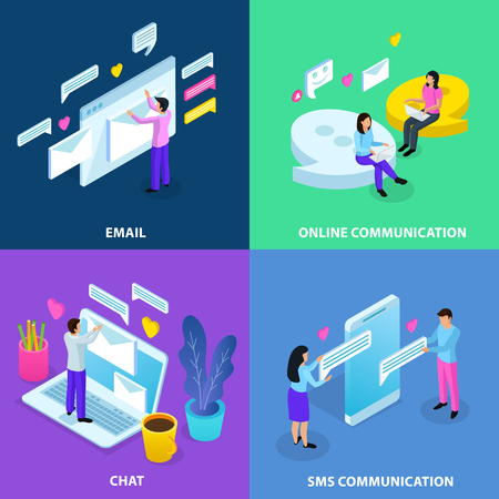 Virtual communication isometric 4 colorful background icons concept with email chat sms online dating isolated vector illustration