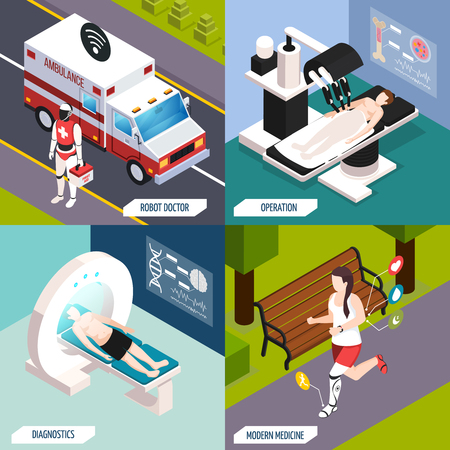 Advanced medical technologies concept 4 isometric icons with robotic doctor and fully automated operation isolated vector illustration