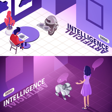 Artificial intelligence isometric horizontal banners with machine waiter, child playing with robotic dog isolated vector illustration Illustration