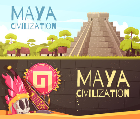 Cartoon set of two horizontal banners with maya civilization pyramid and accessories isolated vector illustration Illustration