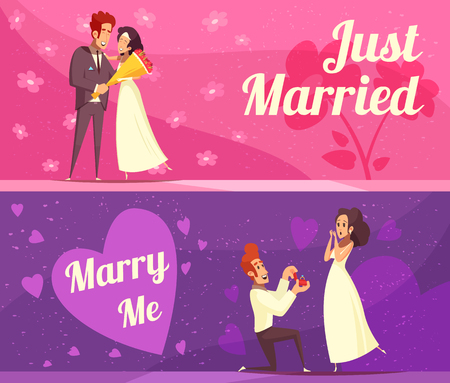 Newlyweds cartoon banners on pink and purple background, just married persons and engagement ceremony isolated vector illustration