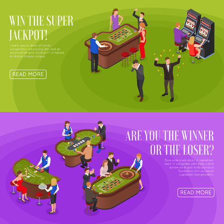 Casino 2 horizontal isometric green purple background banners set with roulette jackpot winners losers isolated vector illustration