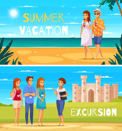 Travel agency two banners with young people walking on summer on beach and listening guide story about historical attractions cartoon vector illustration