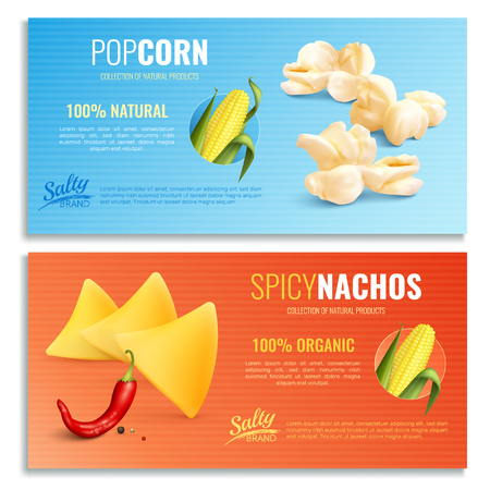 Spicy nachos and fried maize horizontal banners with realistic corn cob, blue orange background, isolated vector illustration