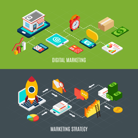 Isometric horizontal banners set with flowcharts presenting stages of digital marketing strategy 3d isolated vector illustration