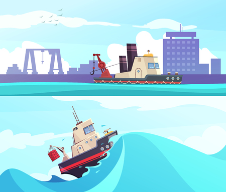 Nautical horizontal banners with fishing ship on wave and vessel on city port background isolated vector illustration Ilustração
