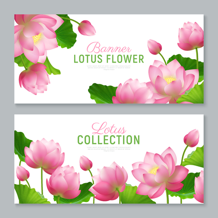 Beautiful realistic lotus flowers collection 2 ornamental horizontal banners set with lettering on white background vector illustration