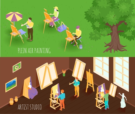 Set of isometric horizontal banners with plein air painting and artist studio isolated vector illustration